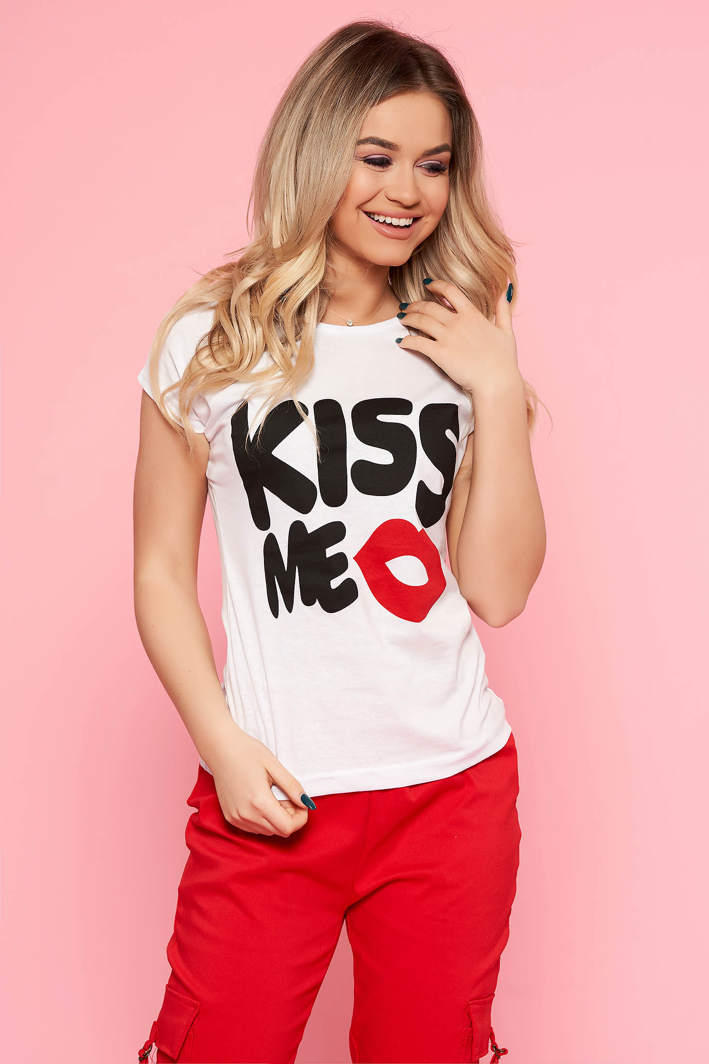 SunShine white t-shirt with writing print casual with tented cut slightly elastic cotton