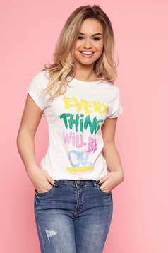 SunShine white t-shirt with writing print casual short cut with tented cut slightly elastic cotton