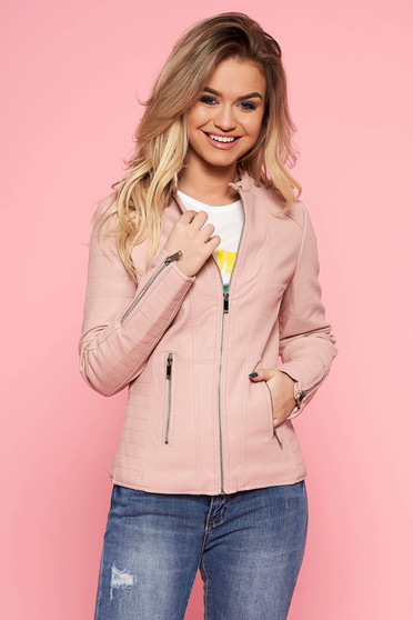 SunShine rosa jacket with pockets casual from ecological leather with inside lining