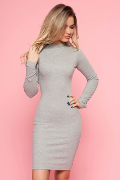 SunShine grey daily dress elastic cotton with tented cut long sleeve