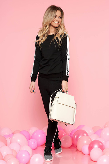 SunShine black set slightly elastic cotton casual with elastic waist with pockets