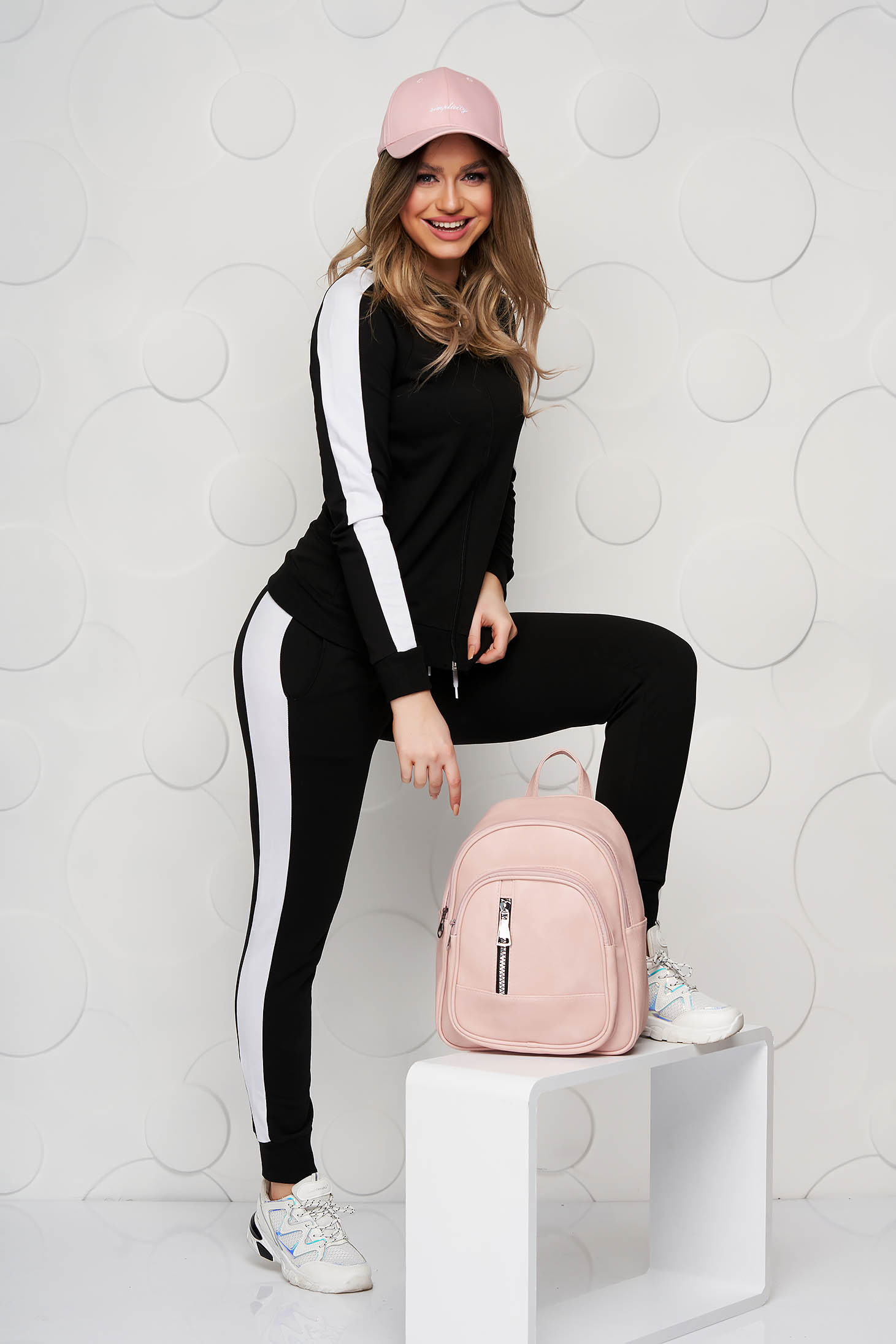Black sporty set slightly elastic cotton with tented cut with medium waist with elastic waist