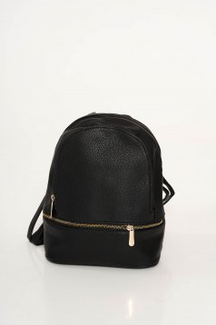 Black casual backpacks from ecological leather zipper accessory