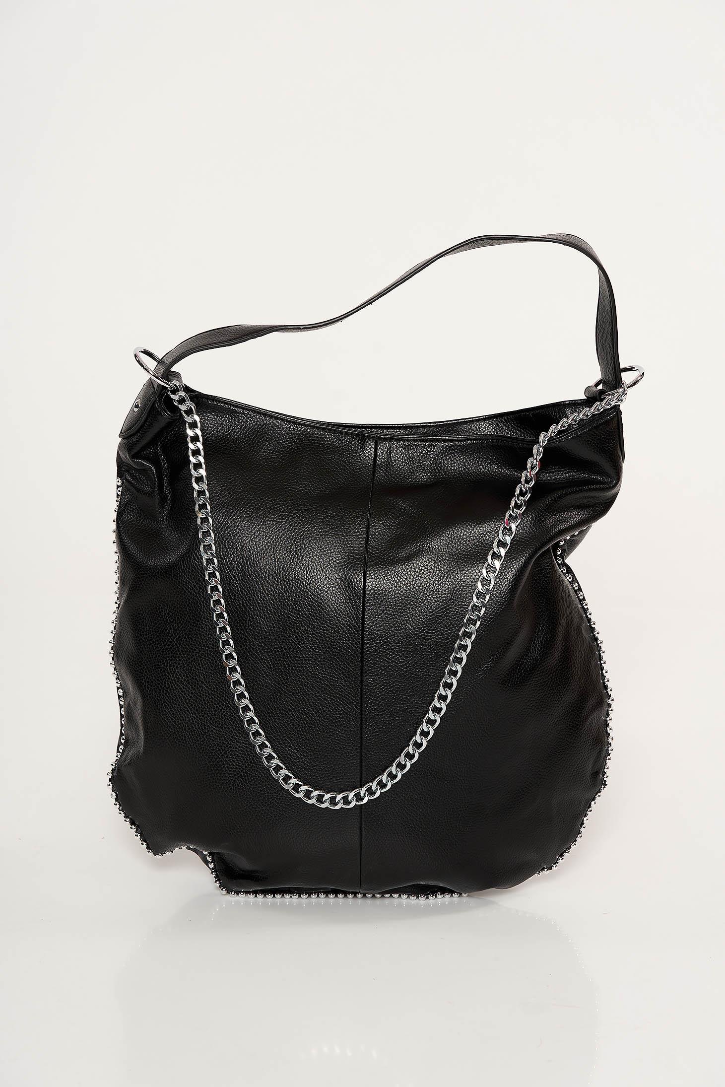 Geanta dama neagra casual din piele ecologica accesorizata cu lant metalic