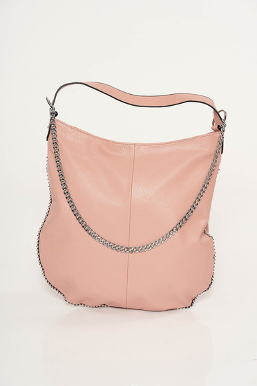 Rosa casual bag from ecological leather metallic chain accessory