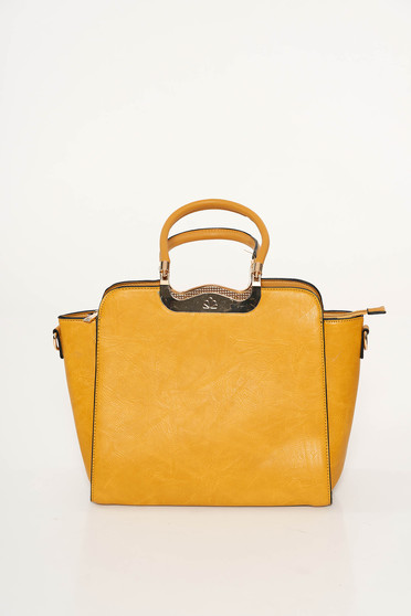 Mustard office bag from ecological leather short handles