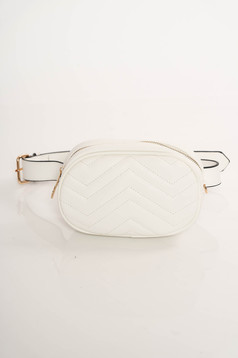 White casual bag from ecological leather accessorized with belt