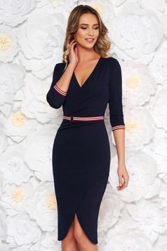 StarShinerS darkblue daily midi dress with a cleavage 3/4 sleeve with tented cut