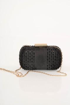 Top Secret black bag clubbing clutch with crystal embellished details
