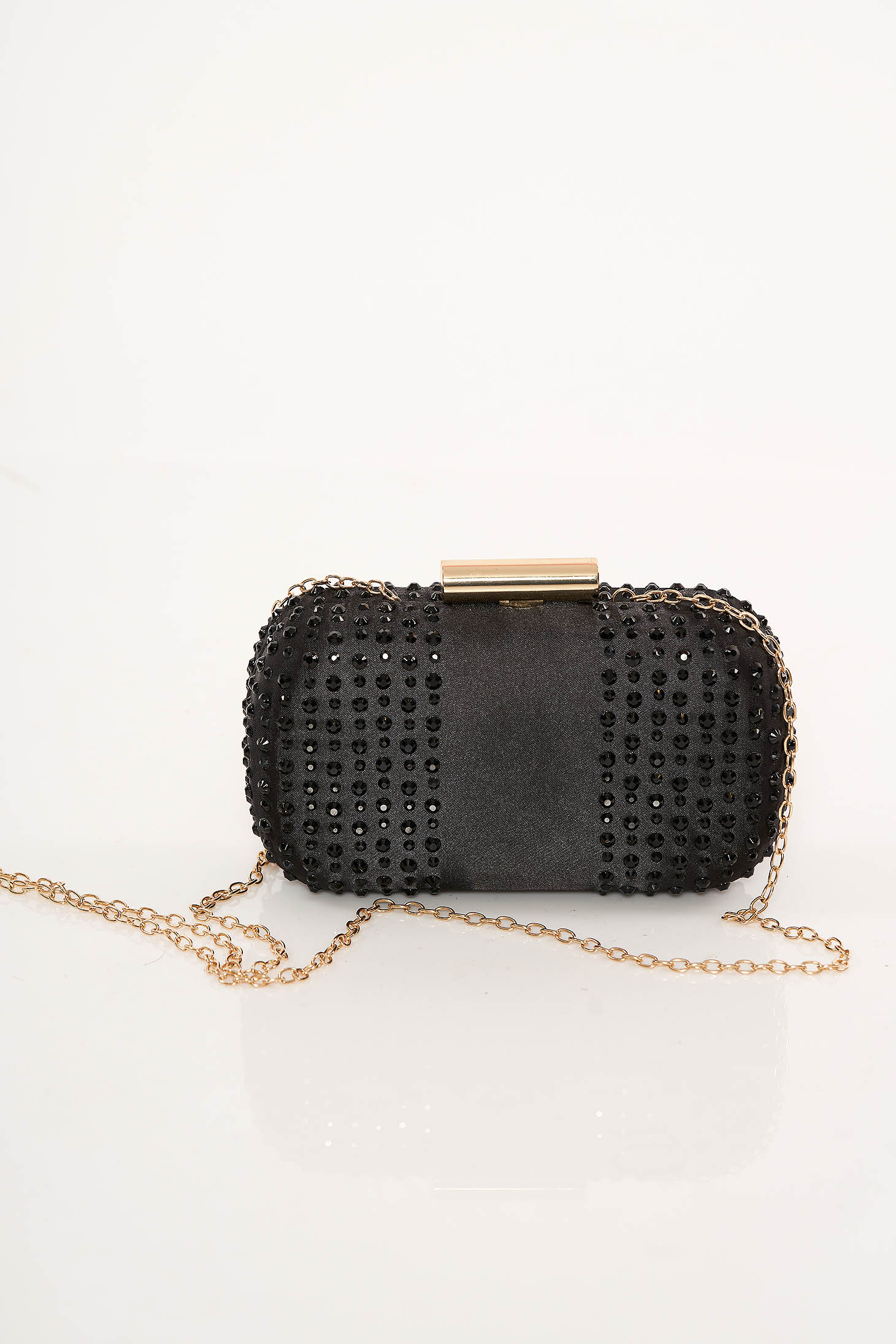 Top Secret black bag clubbing clutch with crystal embellished details