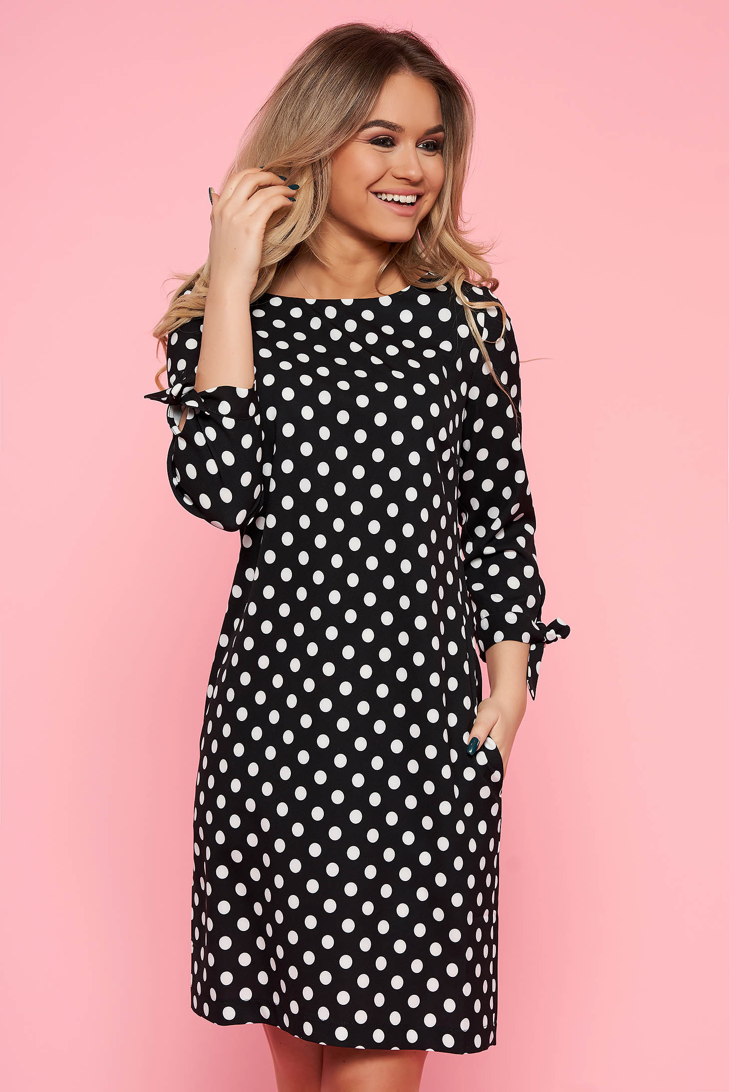 Top Secret black daily flared dress nonelastic fabric dots print 3/4 sleeve