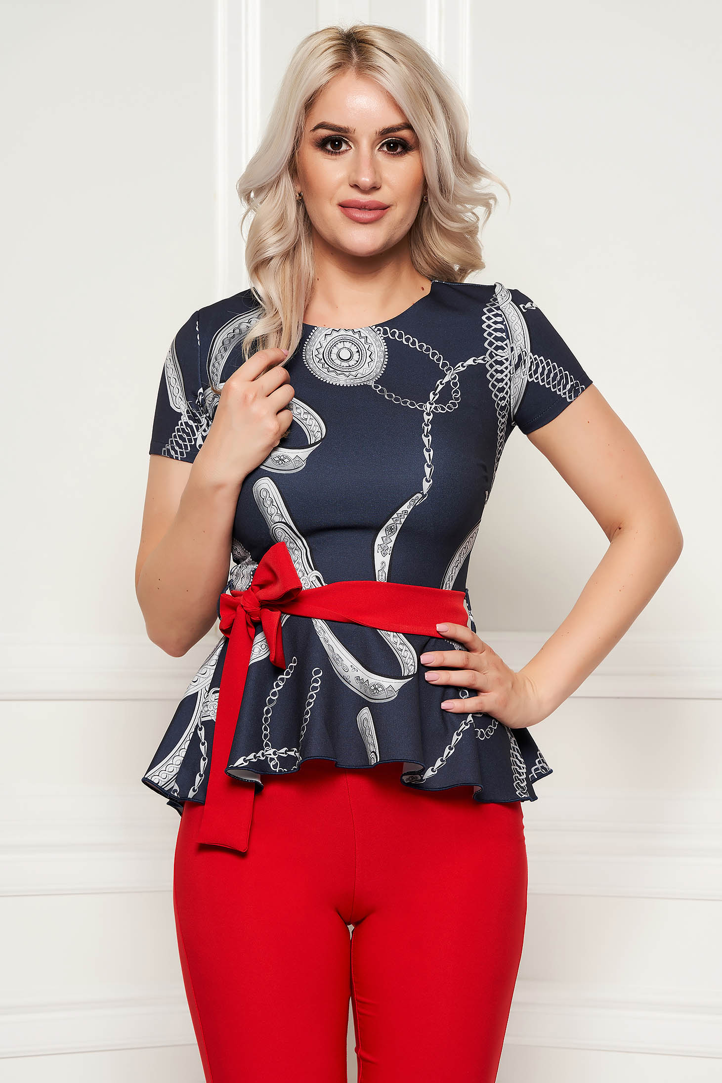 PrettyGirl darkgrey elegant women`s blouse with tented cut frilled flexible thin fabric/cloth accessorized with tied waistband