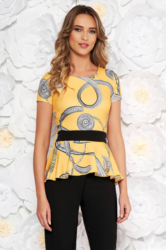 PrettyGirl yellow elegant women`s blouse with tented cut frilled flexible thin fabric/cloth accessorized with tied waistband