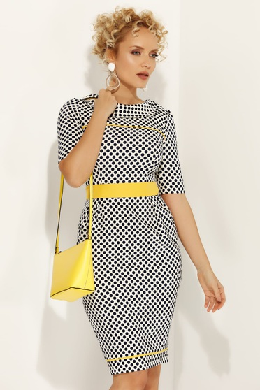 Fofy yellow office pencil dress slightly elastic fabric accessorized with tied waistband with dots print