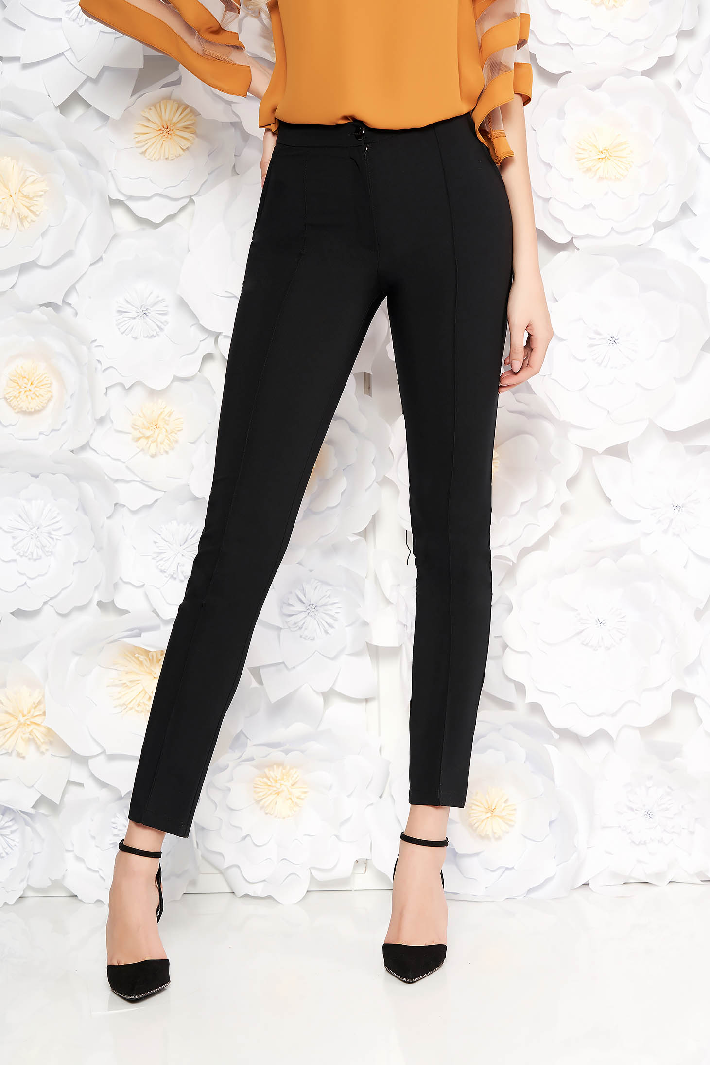 LaDonna black trousers with medium waist office conical slightly elastic fabric with faux pockets