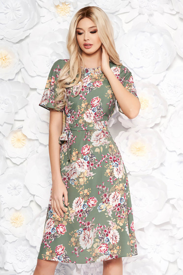 StarShinerS khaki dress with floral prints daily a-line slightly elastic fabric accessorized with tied waistband