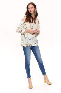 Top Secret cream flared women`s blouse both shoulders cut out airy fabric with floral print