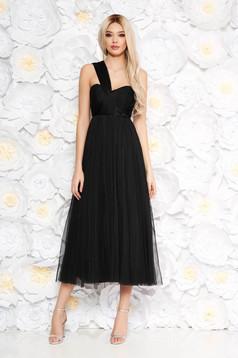 Ana Radu black dress luxurious midi cloche from tulle with inside lining sleeveless