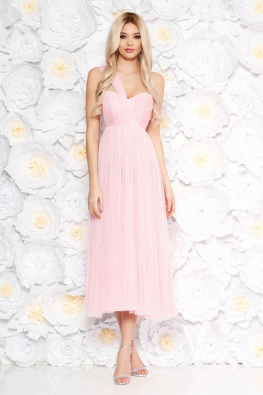 Ana Radu lightpink dress luxurious midi cloche from tulle with inside lining sleeveless