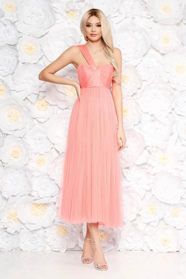Ana Radu peach dress luxurious midi cloche from tulle with inside lining sleeveless