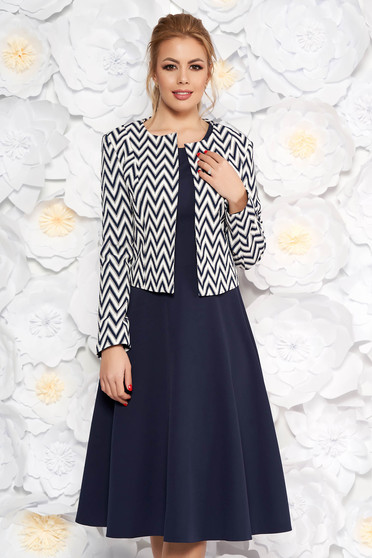 Darkblue lady set office slightly elastic fabric flaring cut with geometrical print