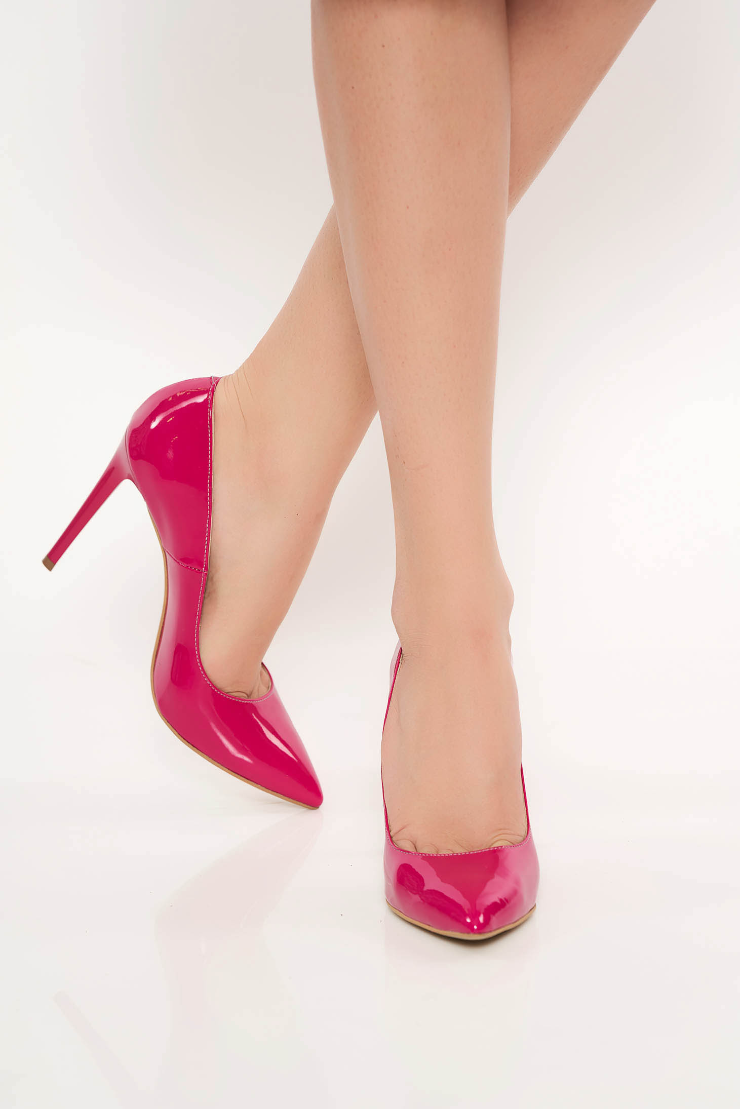 Fuchsia elegant stiletto shoes natural leather with high heels