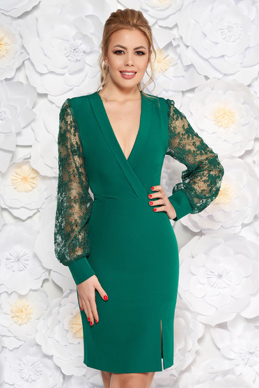 Darkgreen elegant pencil dress with laced sleeves with v-neckline slightly elastic fabric
