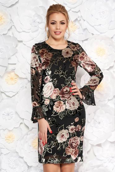 Black dress elegant flared velvet lace with inside lining long sleeved