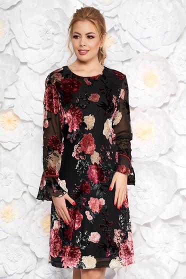 Rosa dress elegant flared velvet lace with inside lining long sleeved