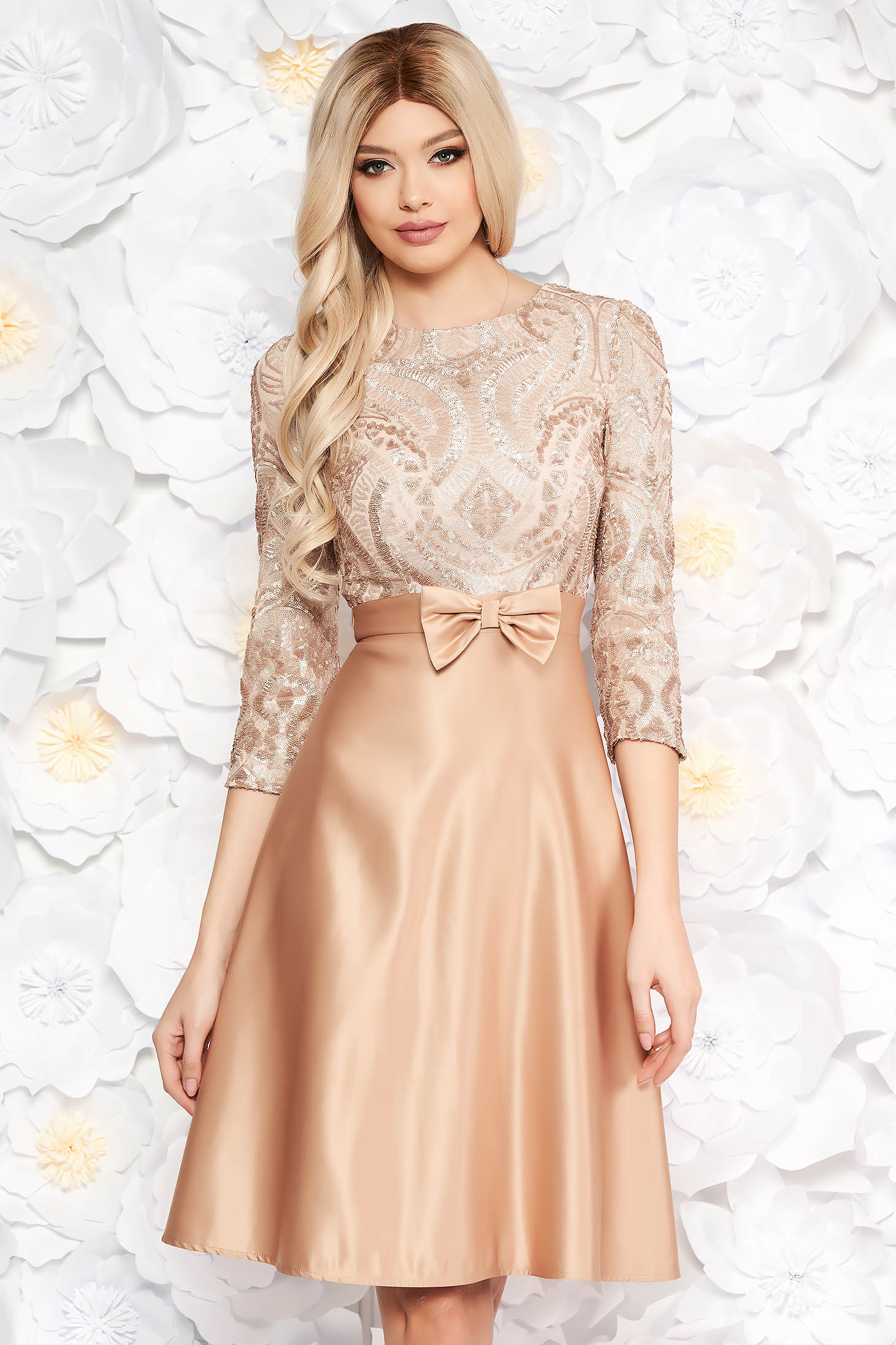 Cream occasional dress with bow flaring cut with sequin embellished details