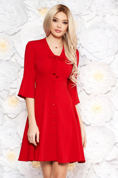 Red elegant daily dress with button accessories flaring cut