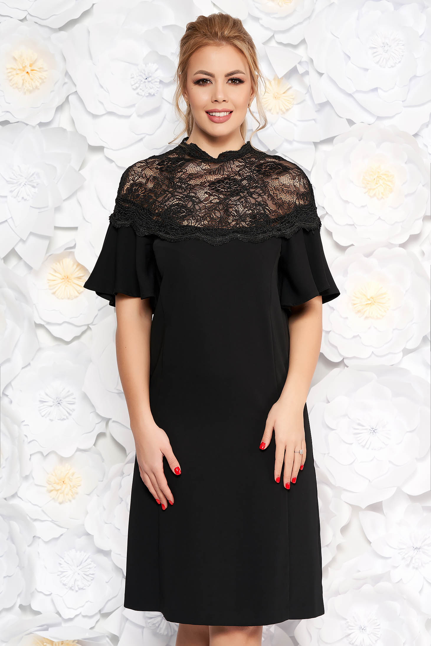 Black flared dress with bell sleeve with lace details