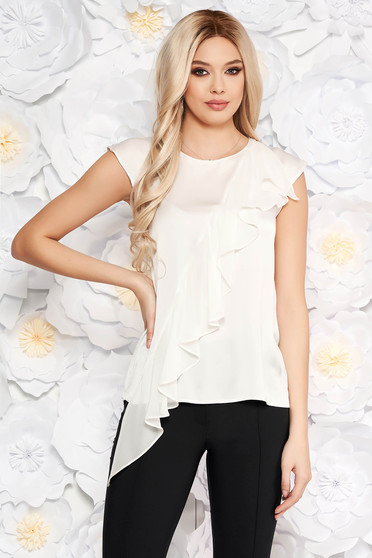 White women`s blouse short sleeves with ruffle details