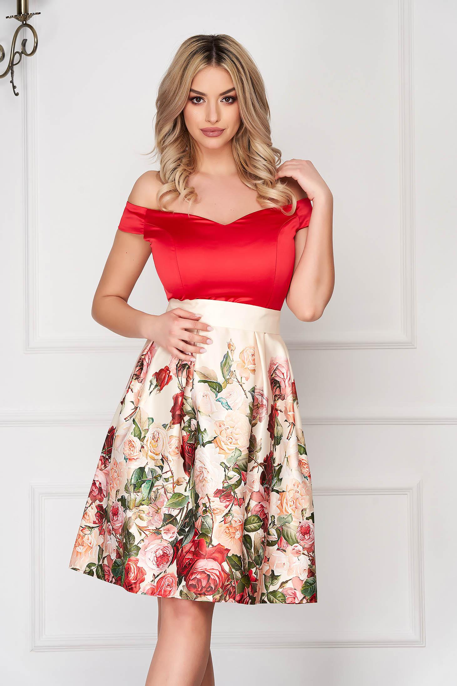 Rochie StarShinerS rosie scurta de ocazie in clos din satin cu imprimeu floral si cordon detasabil