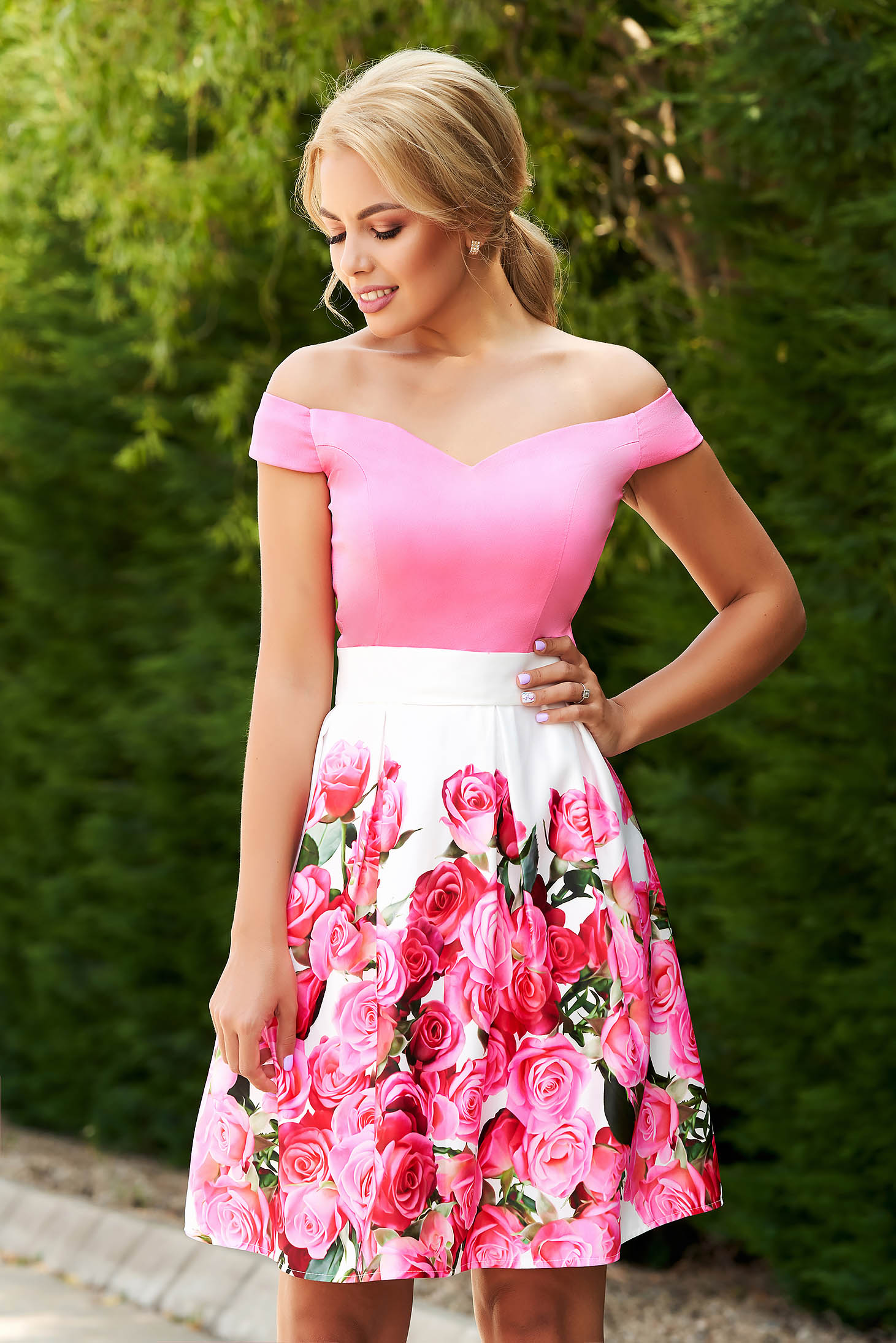 StarShinerS occasional short cut cloche pink dress from satin with floral print and detachable cord