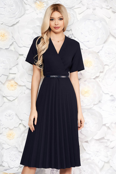 Darkblue dress pleats of material with v-neckline flaring cut