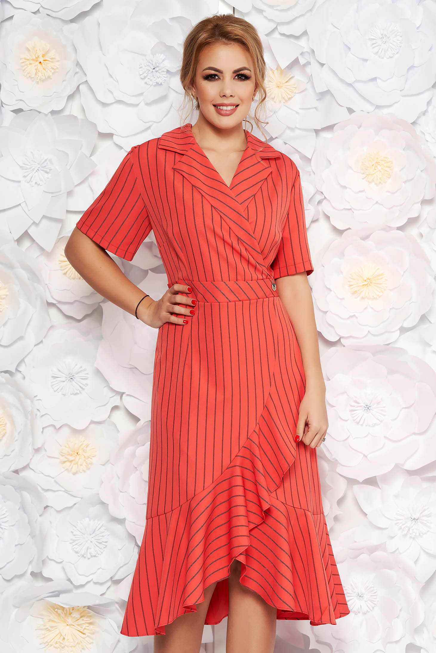 655979ab35 Coral daily dress short sleeves with ruffles at the buttom of the dress ...