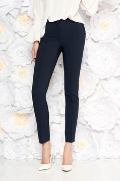 LaDonna darkblue trousers with medium waist office conical slightly elastic fabric with faux pockets