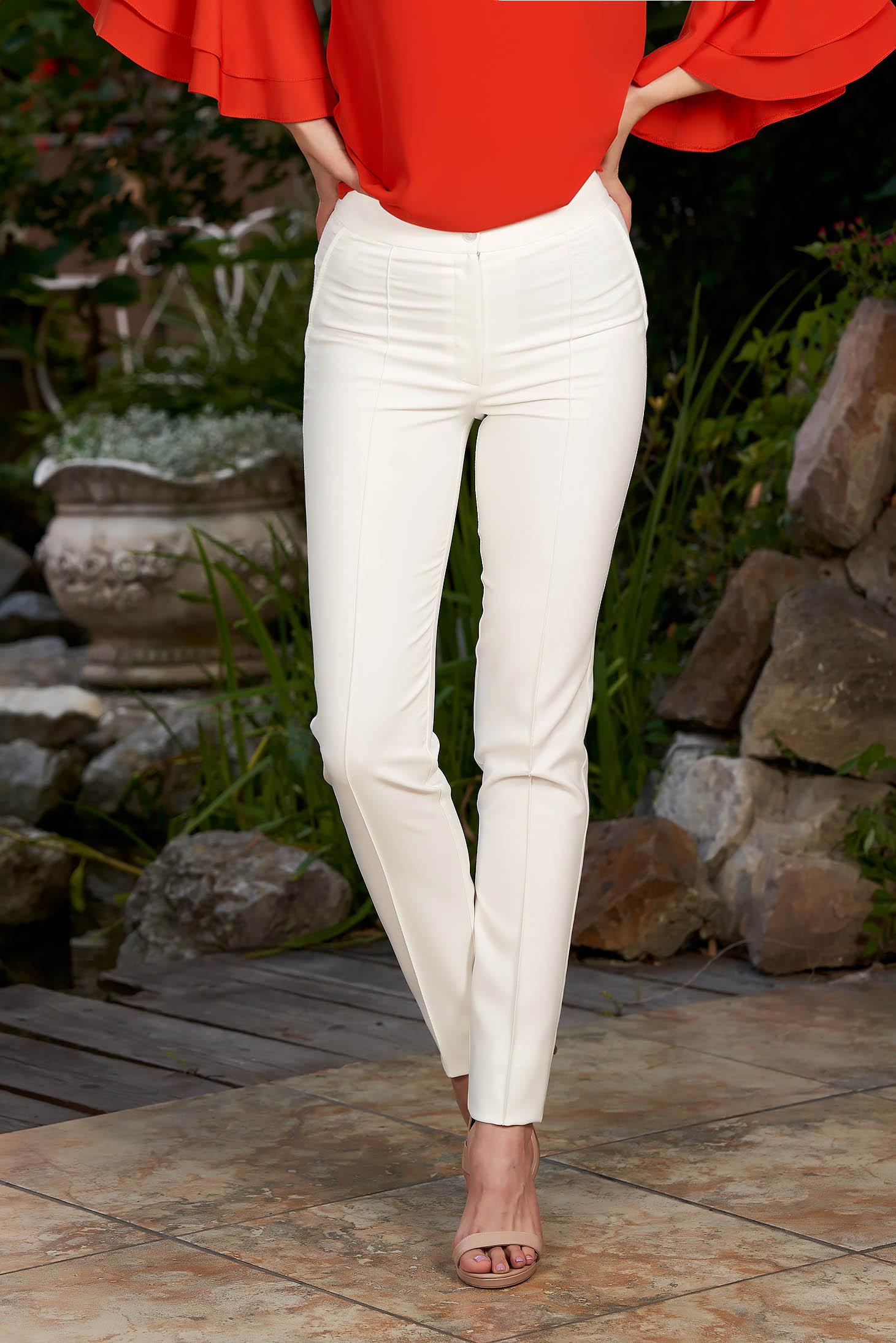 Pantaloni LaDonna albi office conici cu talie medie din material usor elastic cu buzunare false