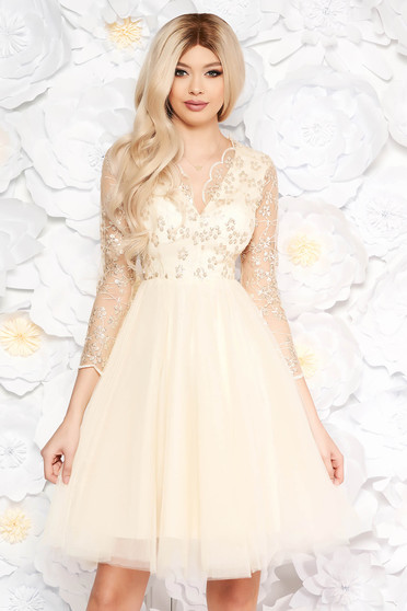 Artista nude occasional cloche dress from tulle with sequins with inside lining with embroidery details