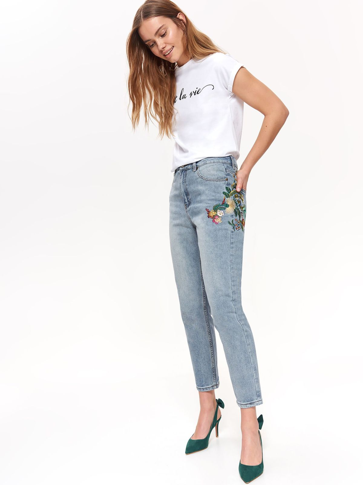 Top Secret blue casual trousers with pockets with straight cut with embroidery details
