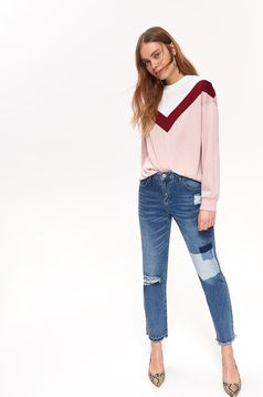 Top Secret blue casual trousers with medium waist straight