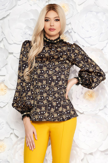 LaDonna black elegant flared women`s blouse long sleeved