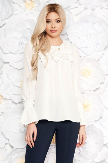 LaDonna white women`s blouse with bell sleeve with easy cut