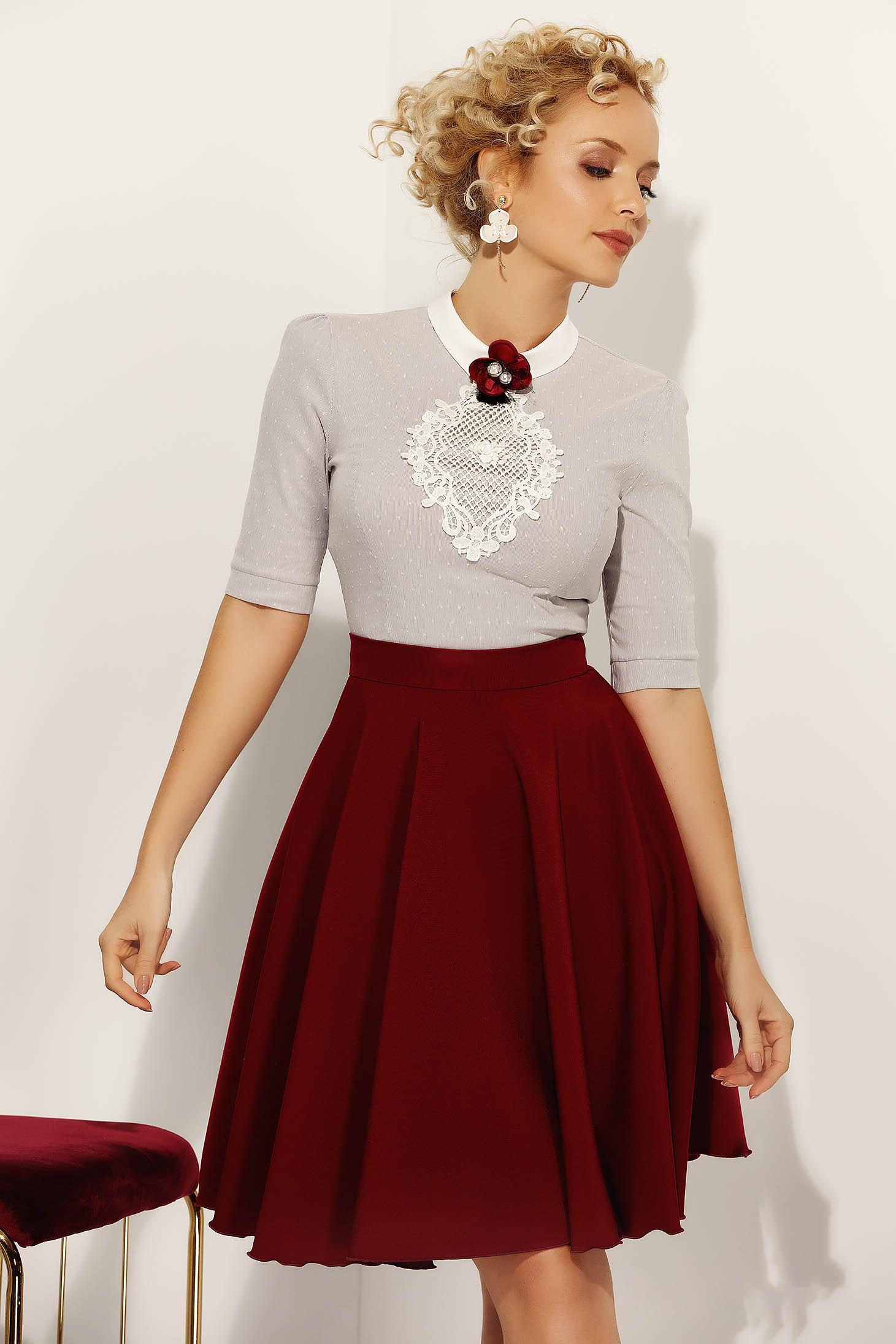 Szürke Fofy irodai női ing szűk szabás enyhén elasztikus pamut kötött csipke diszitéssel