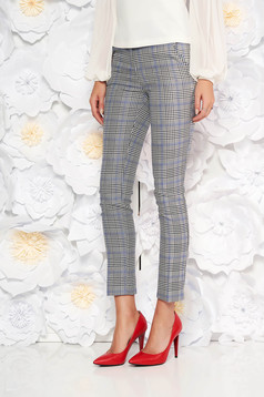 Grey office cloth trousers with chequers with medium waist