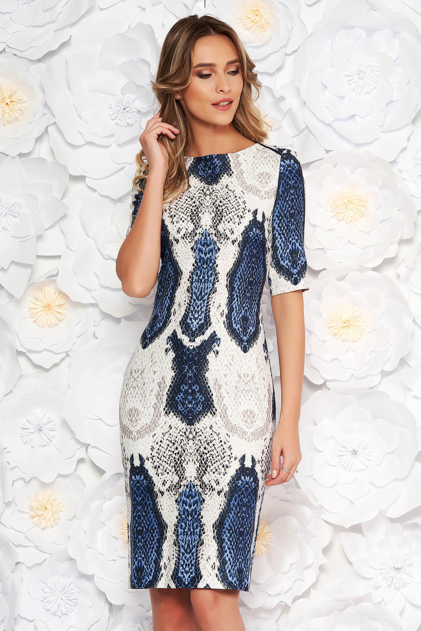 Rochie albastru-inchis eleganta de zi tip creion din material fin la atingere animal print