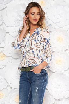 White casual flared women`s shirt 3/4 sleeve airy fabric with graphic print