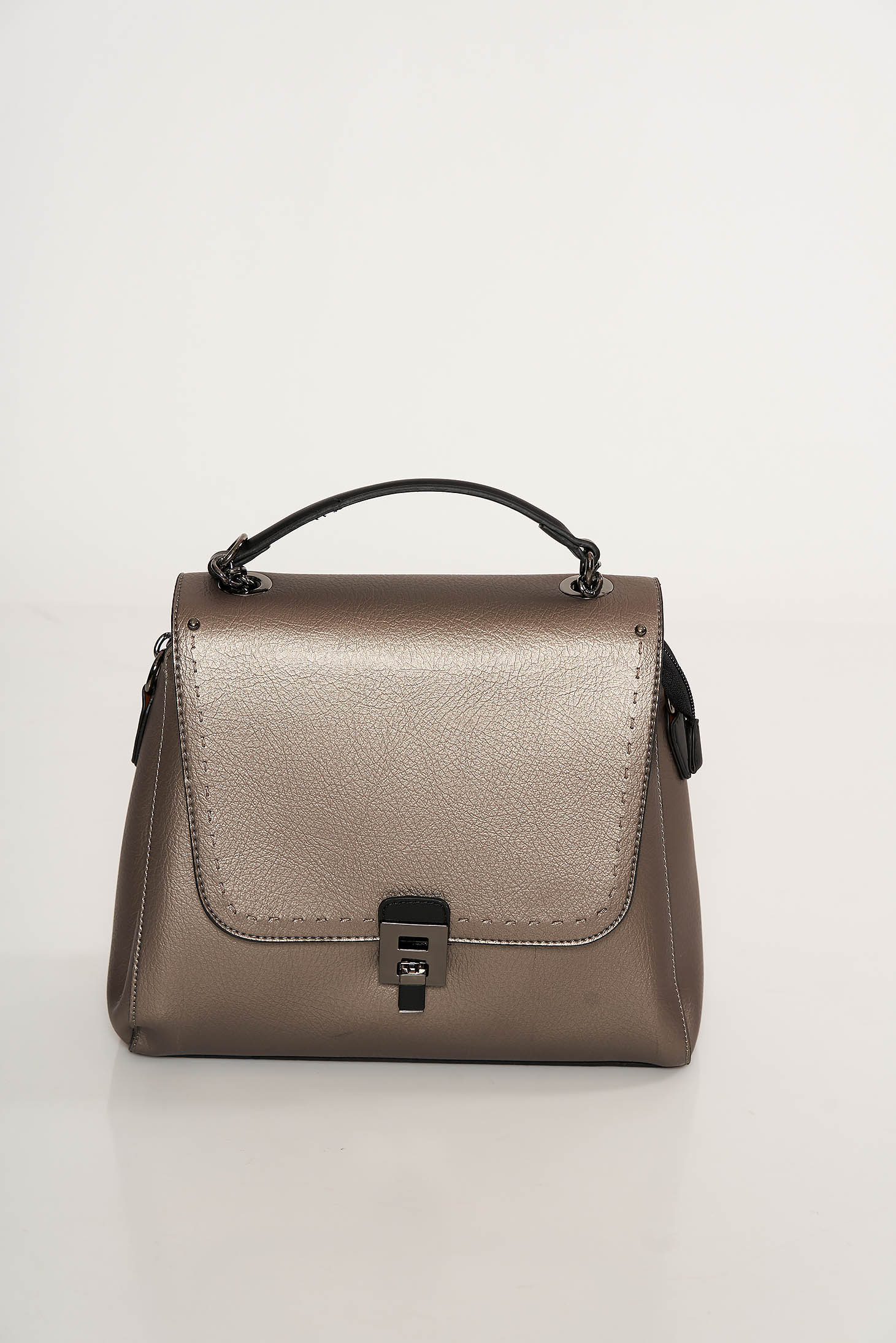 Darkgrey bag casual from ecological leather