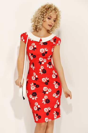 Fofy red dress daily pencil with floral print slightly elastic fabric